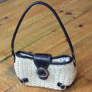 Brighton straw handbag with dark brown leather EUC